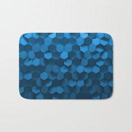 Blue hexagon abstract pattern Bath Mat