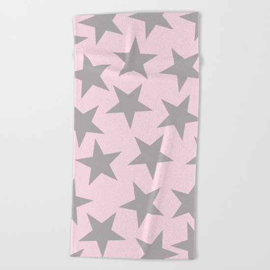 Grey stars on pink backround patterns Beach Towel