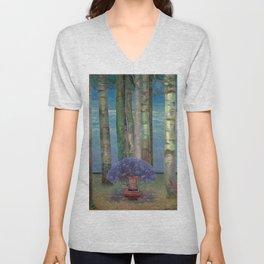 Wysteria Fountain And Poplar Trees by Emilie Mediz-Pelikan Unisex V-Neck