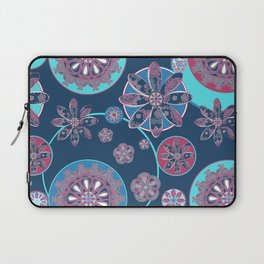 Circles of Flower Blue and Pink Laptop Sleeve