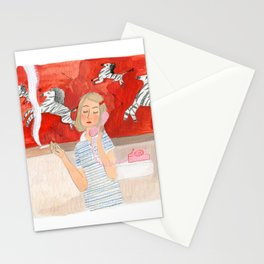 Margot in the bathroom Stationery Cards