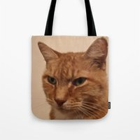 levi Tote Bags featuring Levi the Cat by Sean Foreman