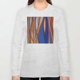 Retro Blues Browns Oranges Line Design with Pastels by annmariescreations Long Sleeve T-shirt