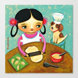 Making Pierogis with doggy Cute cooking art by Tascha Canvas Print