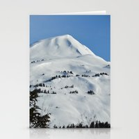 skiing Stationery Cards featuring Back-Country Skiing  - VI by Alaskan Momma Bear