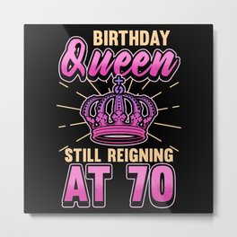 70th Birthday 70 Years Cake Party Gift Metal Print
