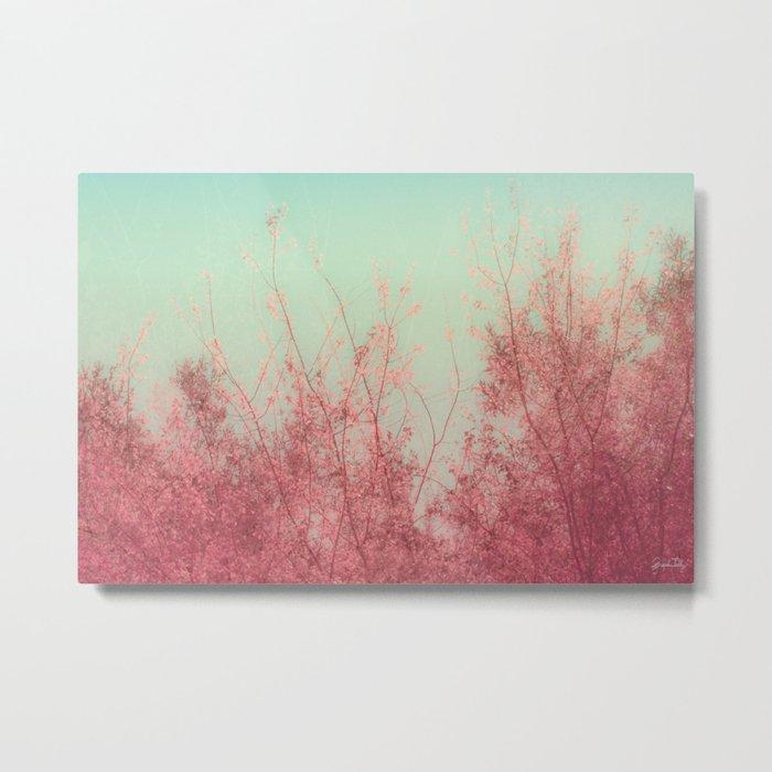 Harmony (Mint Blue Sky, Coral Pink Plants) Metal Print