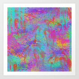 Whimsical pink teal neon green yellow abstract watercolor Art Print