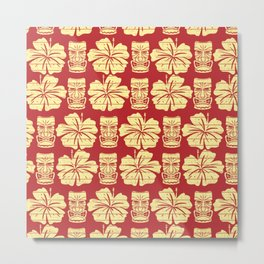 Tiki and Hibiscus - Red and Yellow Metal Print