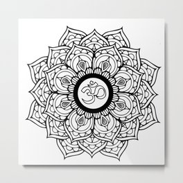 Om Hindu sacred sound symbol Mandala Metal Print