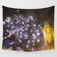 fireworks Wall Tapestries featuring Fireworks 2 by Veronika