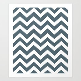 Cadet - grey color - Zigzag Chevron Pattern Art Print