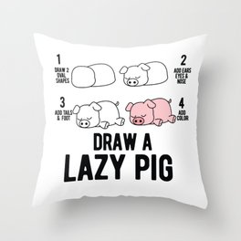 Draw a lazy Pig fun animal step by step painting Throw Pillow