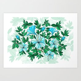 Abstract flowers with background Art Print