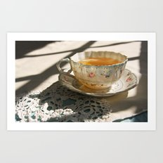 Tea Cup on Lace Art Print