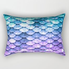 Mermaid Ombre Sparkle Teal Blue Purple Rectangular Pillow