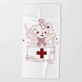 The Adventures of Bear and Baby Bear-Who's hurt? Beach Towel