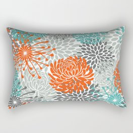 Orange and Teal Floral Abstract Print Rectangular Pillow