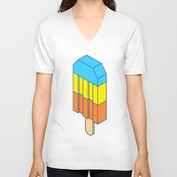 popsicle V-neck T-shirts featuring Popsicle by Haitham Almayman