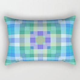 Geometric Blue and Green Rectangular Pillow