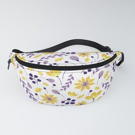 Retro Vintage Purple and Yellow Floral Pattern Fanny Pack