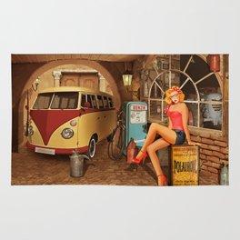 Pin up girl in nostalgic workshop Rug