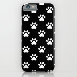 paw print black and white pattern iPhone Case