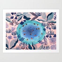 Emerald jungle pool Art Print