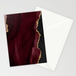 Agate, Burgundy Pink Faux Gold Stationery Cards