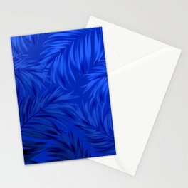 Palm Tree Fronds Brilliant Blue on Blue Hawaii Tropical Décor Stationery Cards