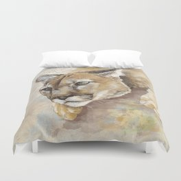Captivated Mountain Lion Duvet Cover