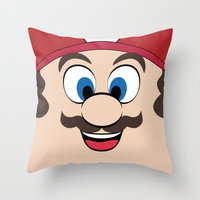 super mario Throw Pillows featuring Super Mario by Shakeel