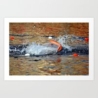 swimming Art Prints featuring swimming by  Agostino Lo Coco
