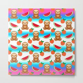 Cute funny sweet adorable relaxed chilling meditating zen sloths, little peaches and red ripe summer tropical watermelons cartoon fantasy white blue pattern design Metal Print