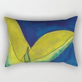 Snake Plant On Blue Rectangular Pillow