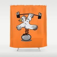 fitness Shower Curtains featuring Chicken lifting weights by mailboxdisco