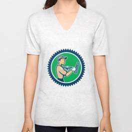 Plasterer Masonry Worker Rosette Cartoon Unisex V-Neck