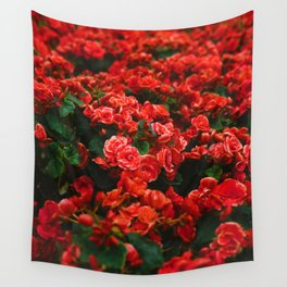 Red Rose Garden (Color) Wall Tapestry