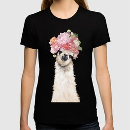 Llama with Beautiful Flowers Crown T-shirt