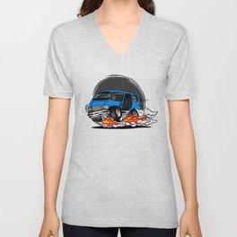 Minivan hotrod style illustration Unisex V-Neck