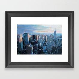 New York City - Manhattan Skyline in Warm Sunlight Framed Art Print