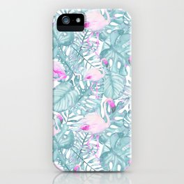 Neon pink green watercolor flamingo tropical leaves iPhone Case