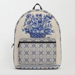 Basket of Flowers Vintage Tiles Backpack