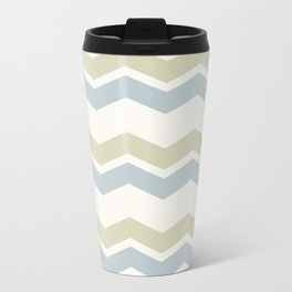 Chevron pattern pale grey and green Travel Mug