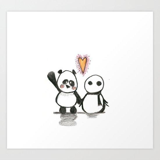 Love is in the air - Panda  Art Print