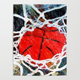 Basketball and net vs 4 Poster