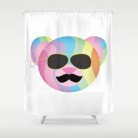 bondage Shower Curtains featuring Punk Rainbow Bondage Bear by YOSH FRIDAY