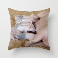 piglet Throw Pillows featuring Piglet Lunch by Tiffany Dawn Smith
