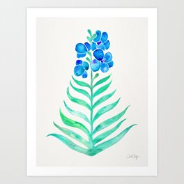 Blooming Orchid – Mint & Blue Palette Art Print