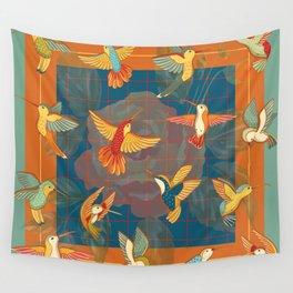 Hummingbirds in Orange Wall Tapestry